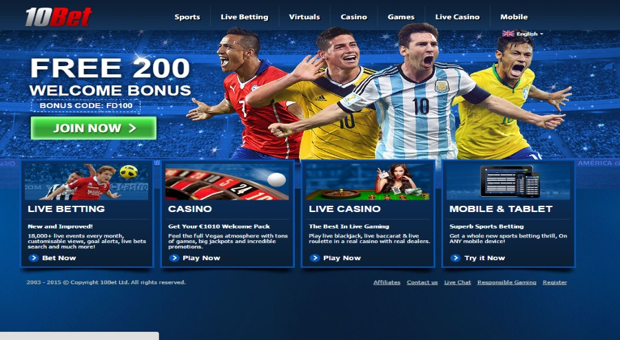 10bet sports homepage