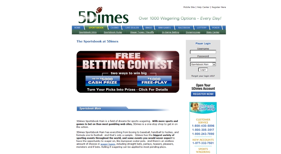 5dimes free betting contest