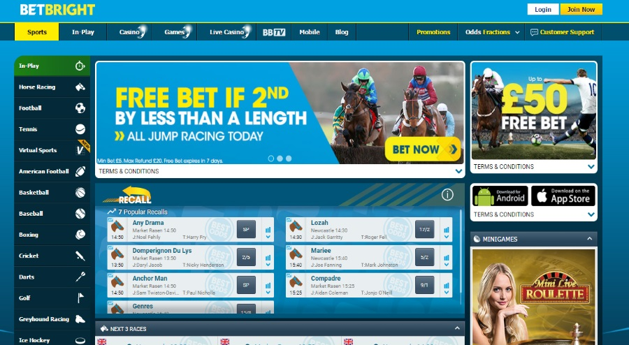 Betbright Homepage