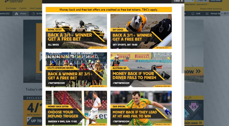 Various promotions at Betfair