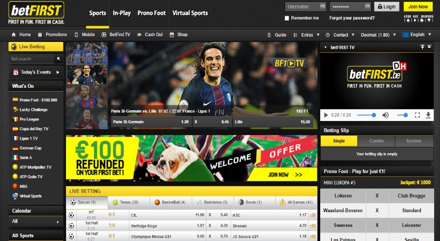 Betfirst Homepage