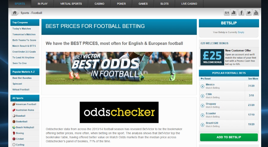 Odds checker at betvictor