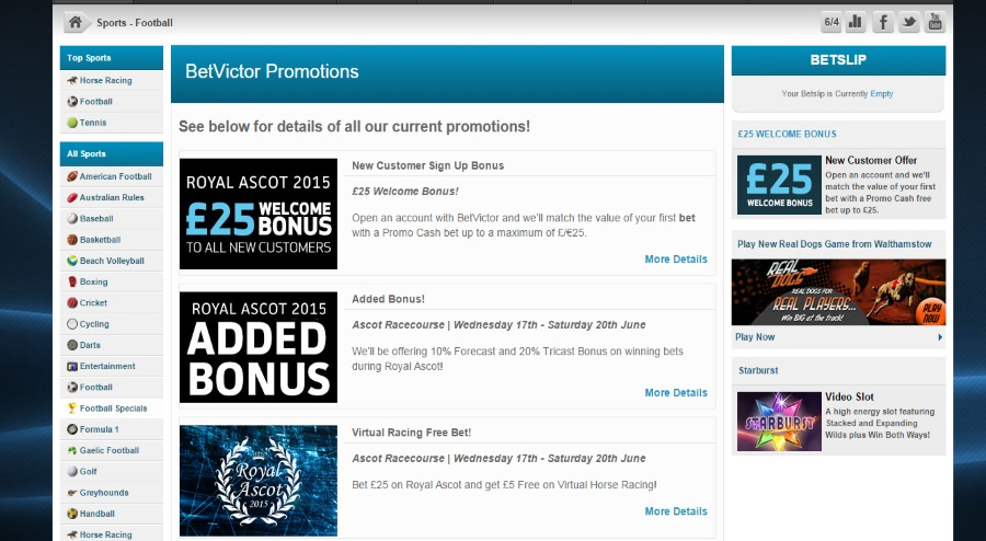 Various promotions at Betvictor