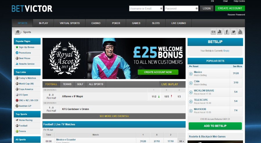 Betvictor welcome page
