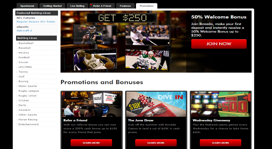 Bovada sports betting promotions