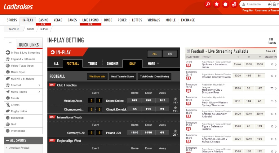 Ladbrokes in play and live
