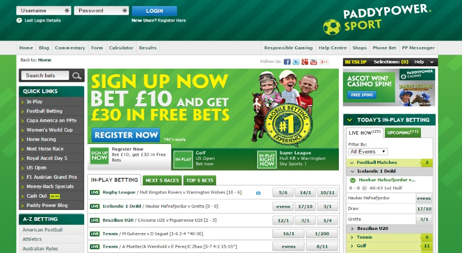 Paddy Power Welcome Page