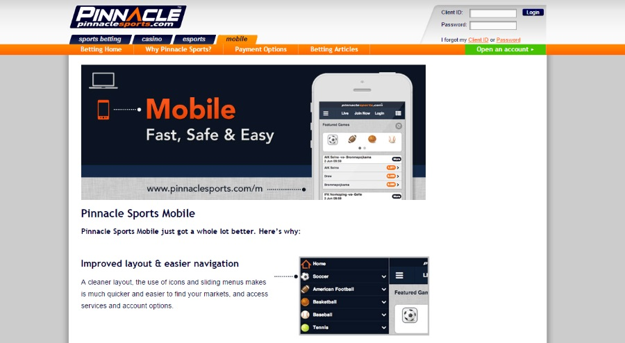 Pinnacle sports mobile