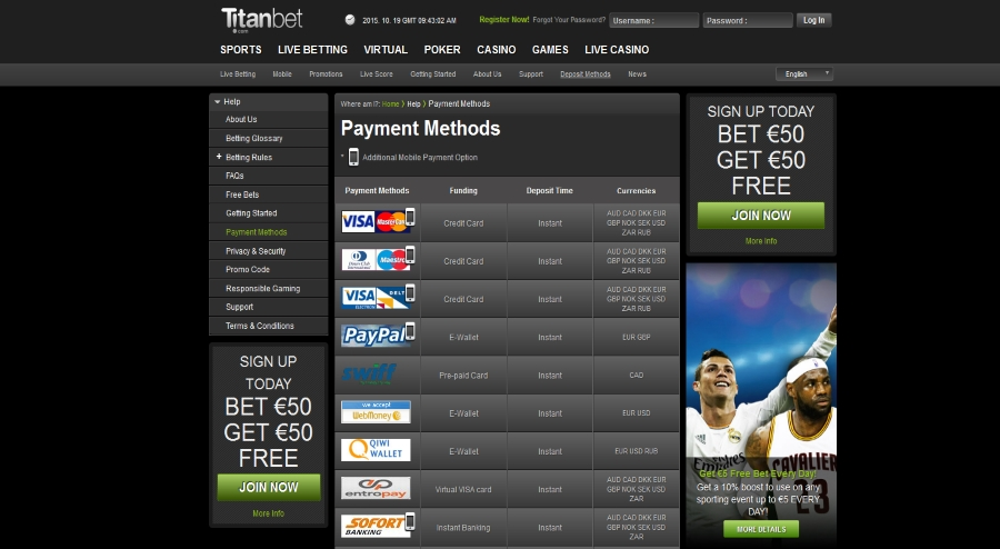 titanbet various payment methods